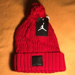 RARE! Air Jordan Pom Beanie Knit Hat Red/Black NWT
